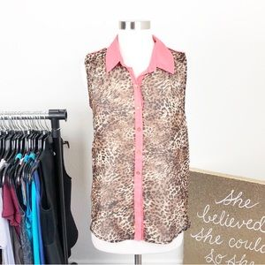 Moon Collection animal print buttoned down top
